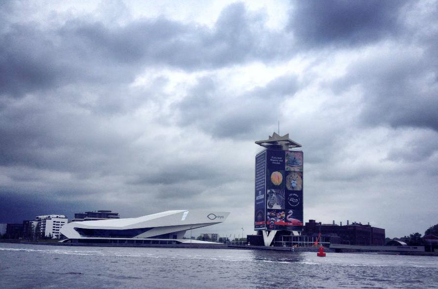 Hello from cloudy Amsterdam! That is the new Eye Museum in the distance.